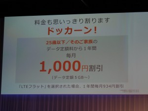 さらに1年間は毎月1000円割引サービスも併用される。