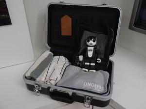 スーツケースに入るロボホン。旅行にはもちろん連れて行きます。