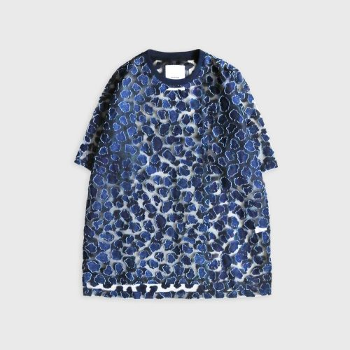 SEE THROUGH LEOPARD PATTERN JACQUARD PATTERN JACQUARD T-SHIRT