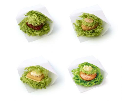 「モスの菜摘」牛肉のパティ、チキン、フィッシュ、海老カツ