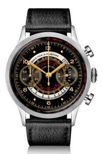 ダンヘンリー 腕時計1939 Military Chronographブラックグロス、金の針