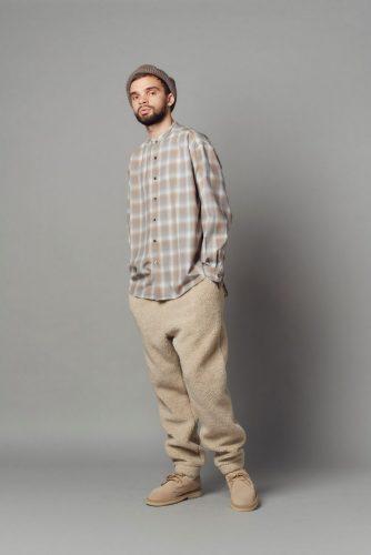 Band collar shirt, Boa fleece mountain pants, List fight watch(*halo-commodity), Shoes(*SUICOKE)