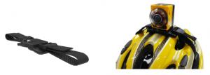 自転車用ヘルメットに装着できるストラップマウント。