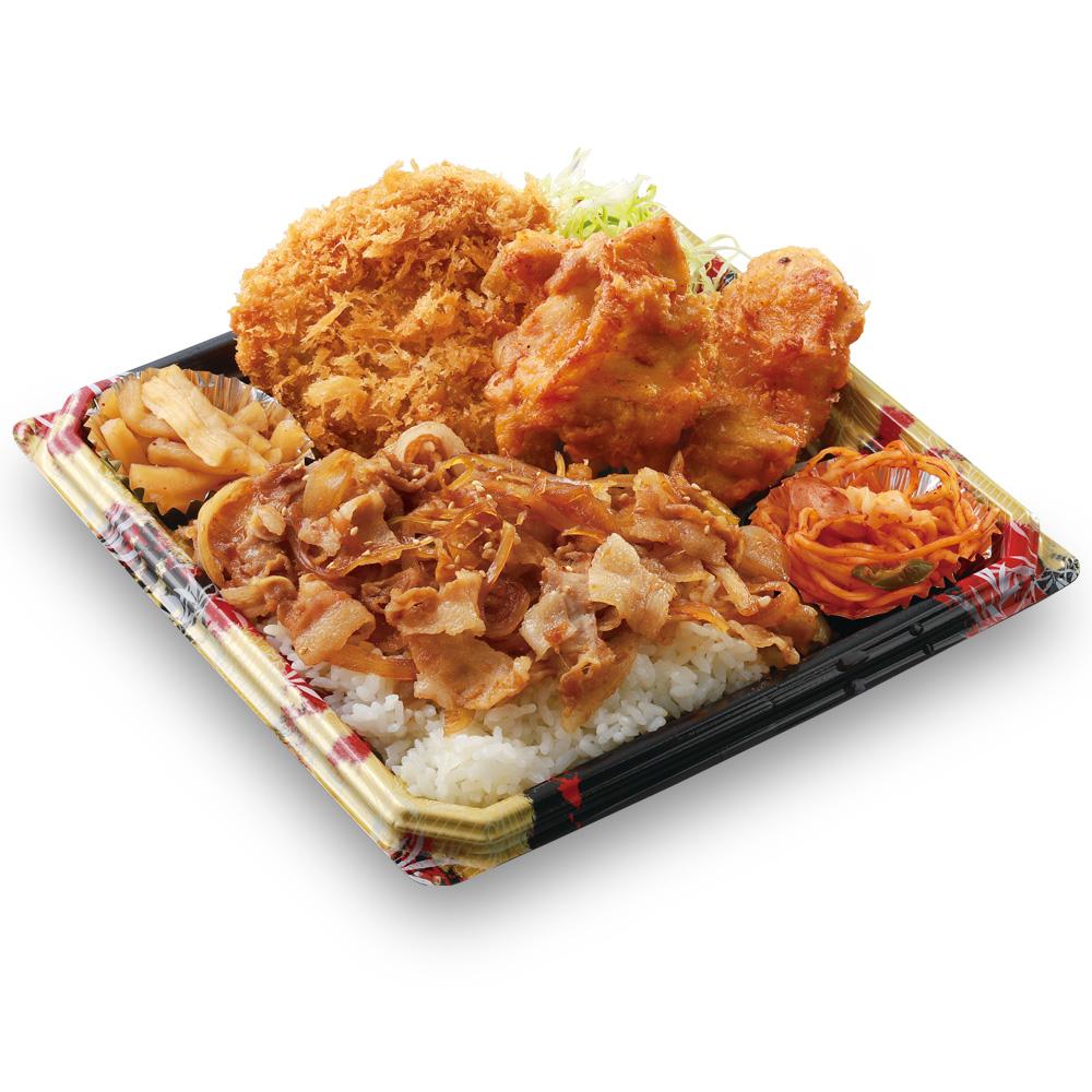 「かつや」全力飯弁当、生姜焼丼から揚げチキンカツ弁当