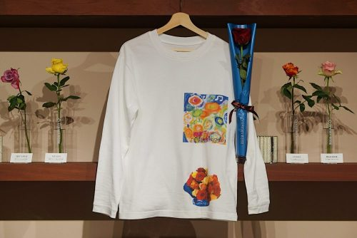 AFRIKA ROSE × Taisuke Kinugasa × MODEL'SLINK アフリカの薔薇一輪と一輪挿しの花器、Tシャツセット (伊勢丹 限定)