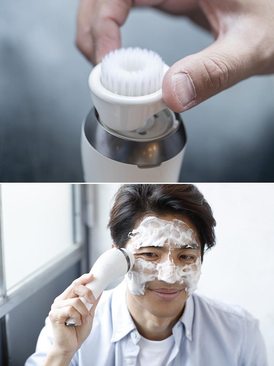 濃密泡プラシで洗顔