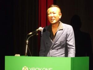 『龍が如く』でお馴染みのセガの名越さんも登壇。Xbox Oneでどんなタイトルを見せてくれるのか期待大だ。