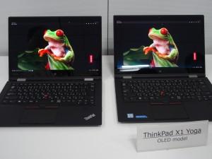 左が従来の液晶モデル。右が有機ELモデル。液晶は派手ですが色がどぎつい。有機ELは滑らかな階調表現で、背景の黒がより締まってします。