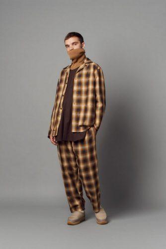 Ombre check safari shirt jacket, Neck warmer(*KIJIMA TAKAYUKI)